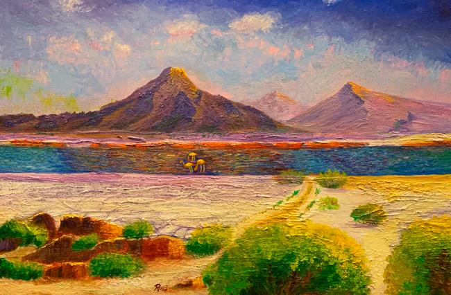 Art: Three Flamingos at Atacama Salt Lake by Artist Rossi Kelton
