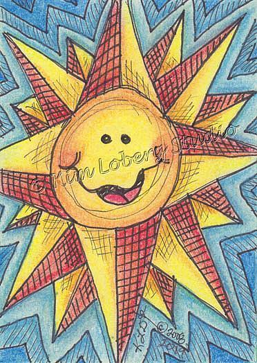 Art: Crazy Retro Sun by Artist Kim Loberg