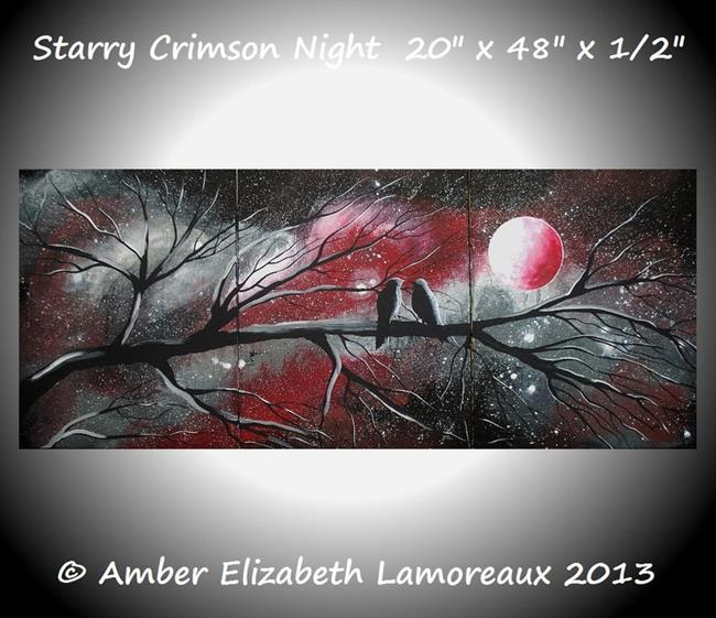 Art: Starry Crimson Night (sold) by Artist Amber Elizabeth Lamoreaux