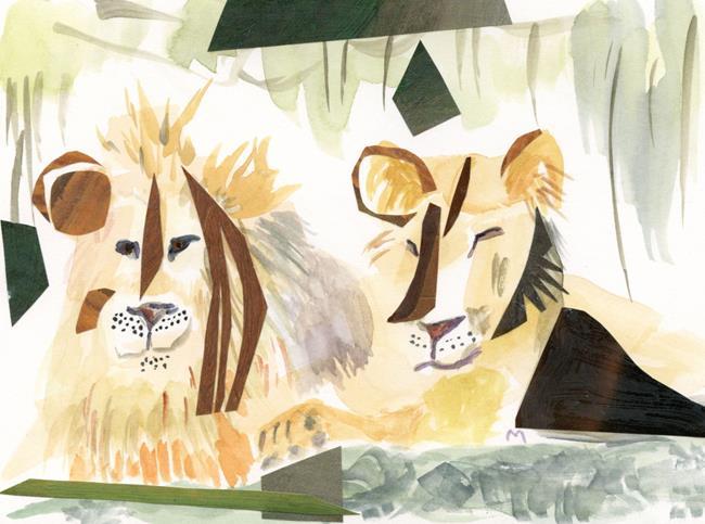Art: Lion + Lioness by Artist Gabriele Maurus