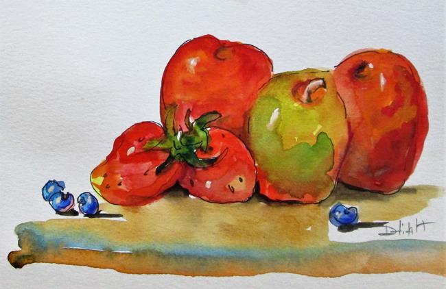 Art: Apples , Strawberries, Blueberries by Artist Delilah Smith