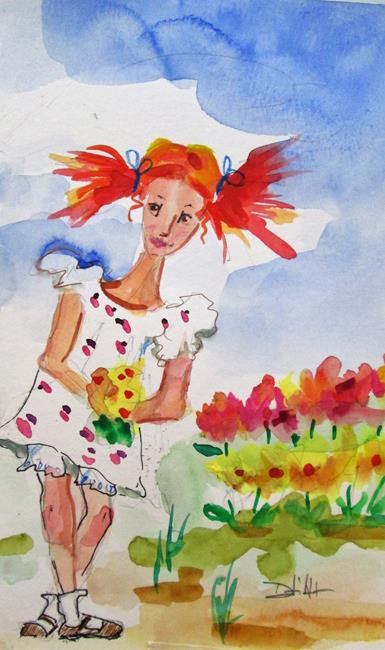 Art: Little Girl and Flowers by Artist Delilah Smith