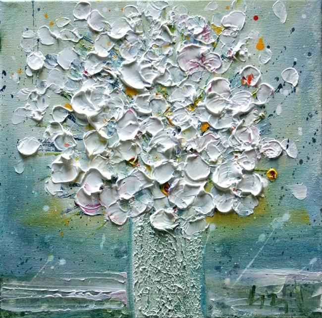 Art: White Flowers Bouquet in a Vase by Artist LUIZA VIZOLI
