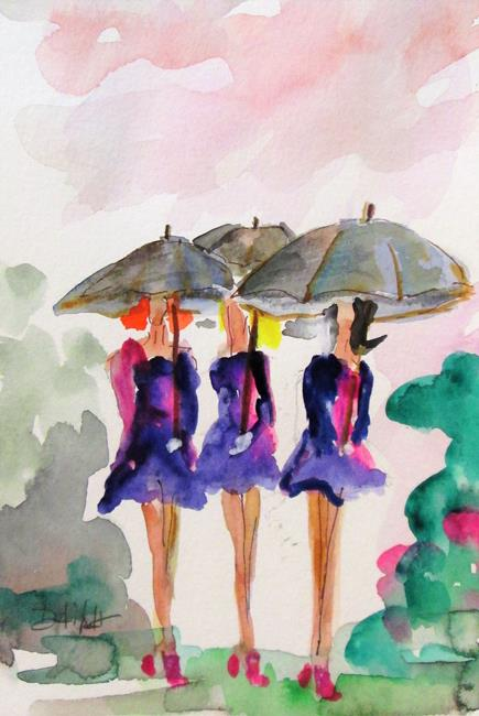 Art: Girls with Umbrellas by Artist Delilah Smith