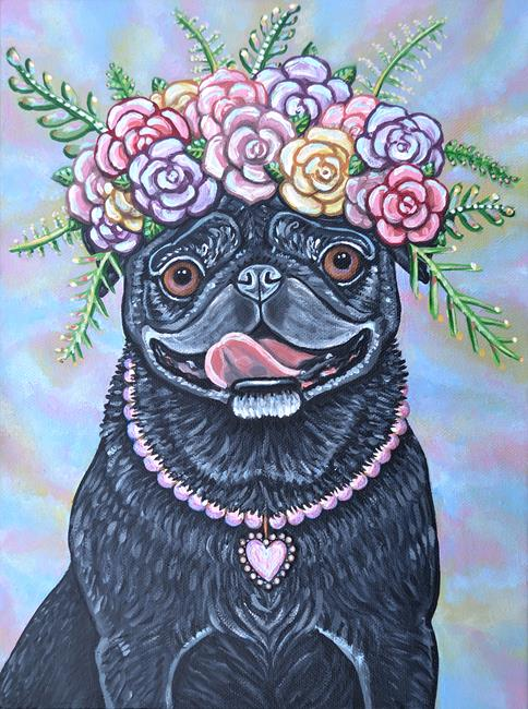Art: Flower Pug by Artist Melinda Dalke