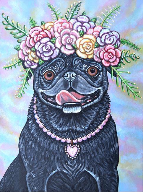 Art: pug flower art 1.jpg by Artist Melinda Dalke