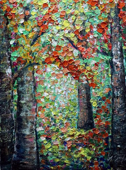 Art: Birch Trees Forest in the Morning at the End of Summer. by Artist LUIZA VIZOLI