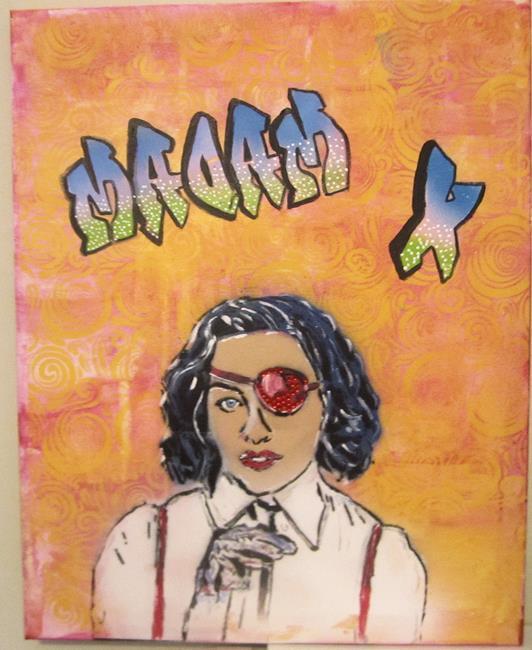 Art: Madonna Madam X Original Pop Urban Graffiti by Artist Paul Lake, Lucky Studios