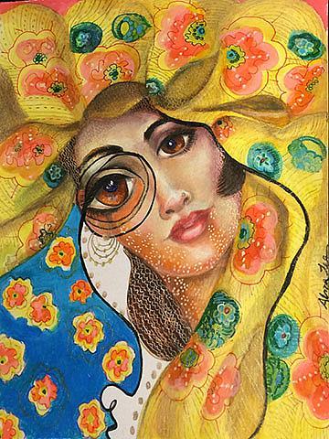 Art: girl in Vogue hat lr by Artist Alma Lee