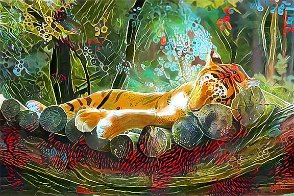 Art: sleeping tiger lr by Artist Alma Lee