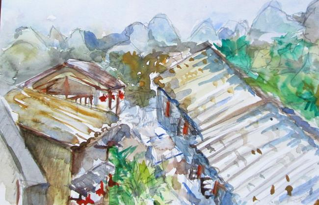 Art: Roof Tops by Artist Delilah Smith