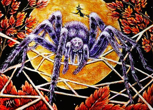 Art: Halloween Spider  (SOLD) by Artist Monique Morin Matson
