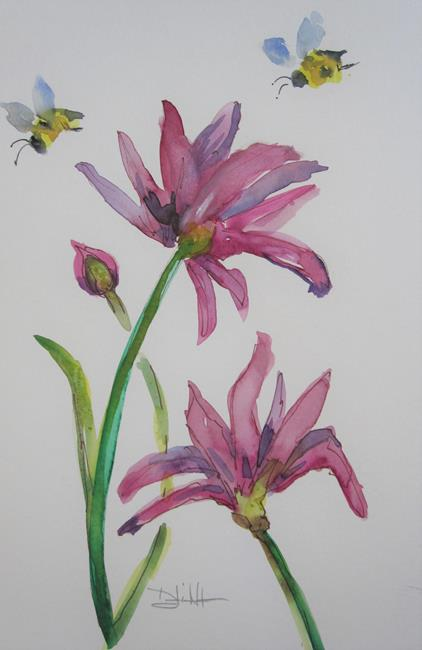 Art: Bees and Coneflowers by Artist Delilah Smith