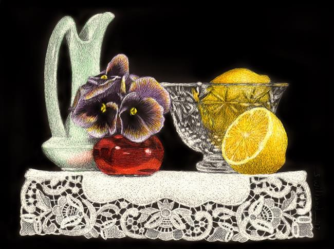 Art: Pansies and Lemons by Artist Sandra Willard