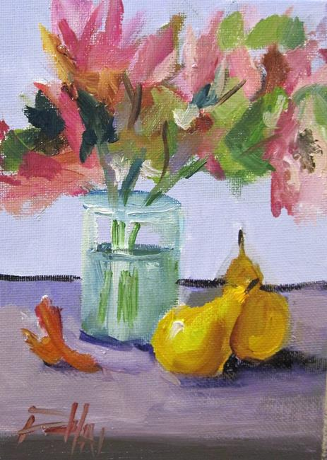 Art: Floral Still Life with Pears by Artist Delilah Smith