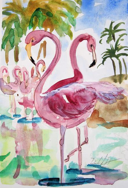 Art: Pink Flamingos No. 4 by Artist Delilah Smith