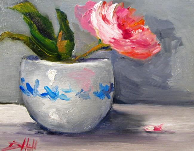 Art: Rose in a Clay Vase-sold by Artist Delilah Smith