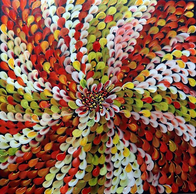 Art: Petals in Red Yellow White shades by Artist LUIZA VIZOLI