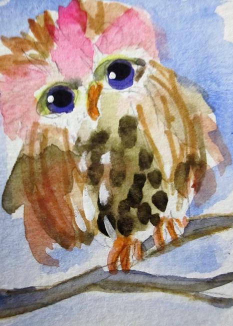 Art: Little Girl Owl-sold by Artist Delilah Smith