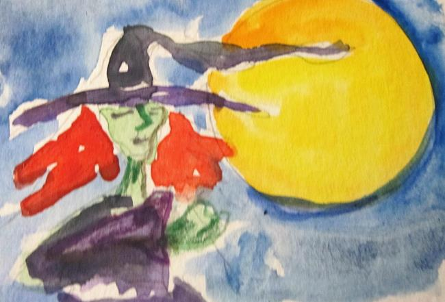 Art: Witch and Moon by Artist Delilah Smith