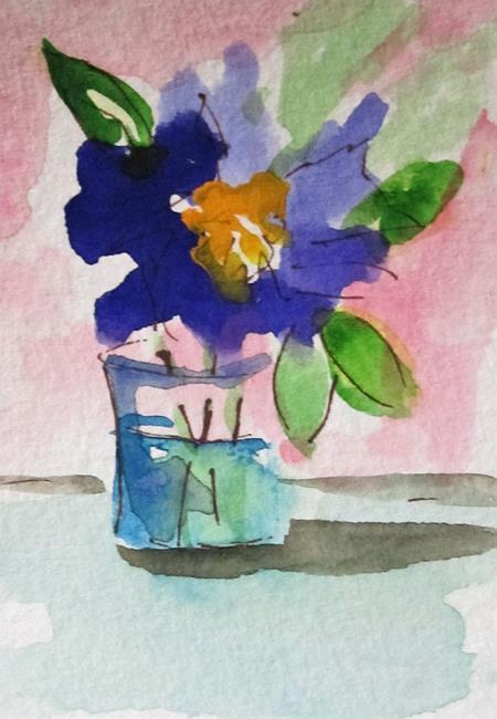 Art: Purple Flower Still Life by Artist Delilah Smith