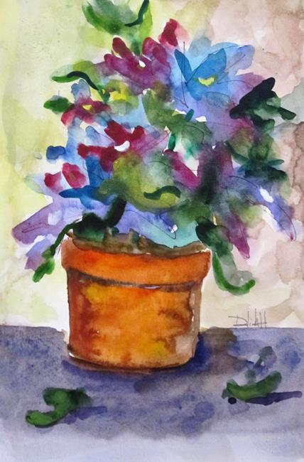 Art: Clay pot with Blue Flowers by Artist Delilah Smith