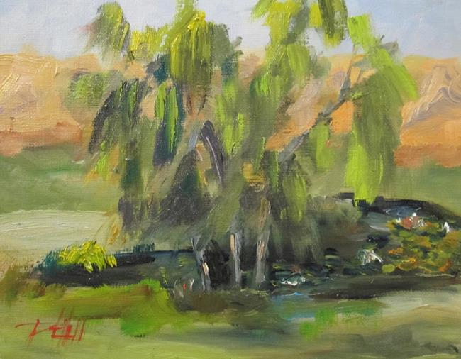 Art: Willow Trees and Pond by Artist Delilah Smith