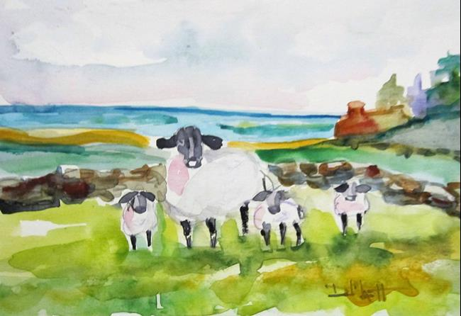 Art: A Family of Lamb by Artist Delilah Smith