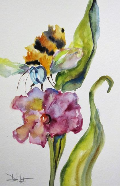Art: Purple Flower and Bee by Artist Delilah Smith