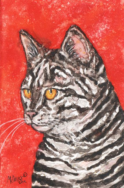 Art: Tabby in Red by Artist Melinda Dalke