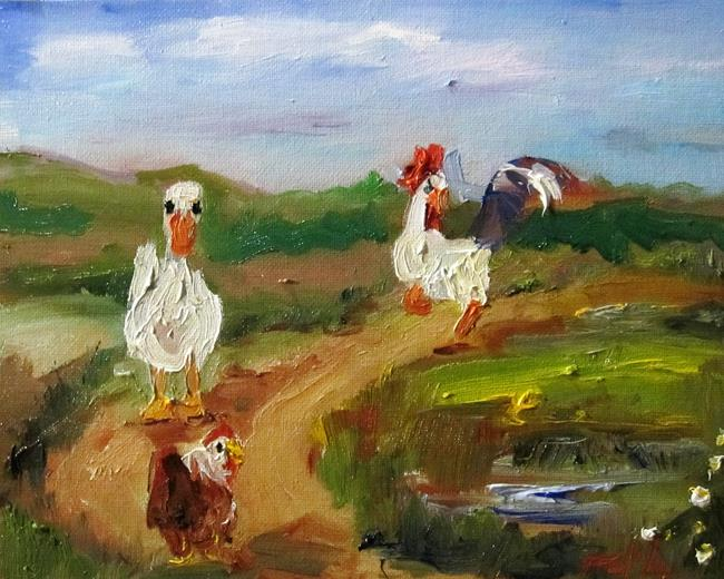 Art: Rooster and Duck by Artist Delilah Smith