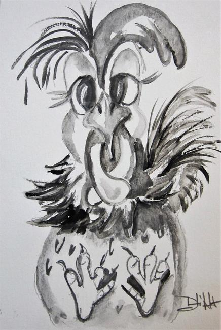Art: Drawing No. 3 Chicken by Artist Delilah Smith