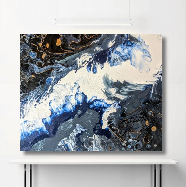 Art: Waves Crashing II (sold) by Artist Amber Elizabeth Lamoreaux