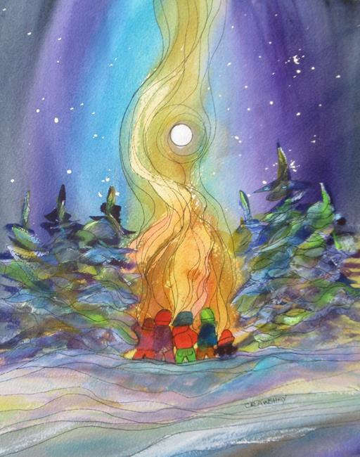 Art: Bonfire Buddies (sold) by Artist Kathy Crawshay