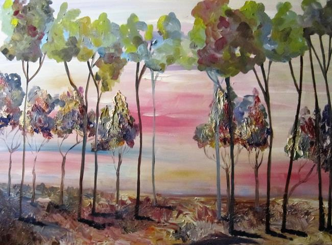 Art: Sky Blue Pink Landscape by Artist Delilah Smith