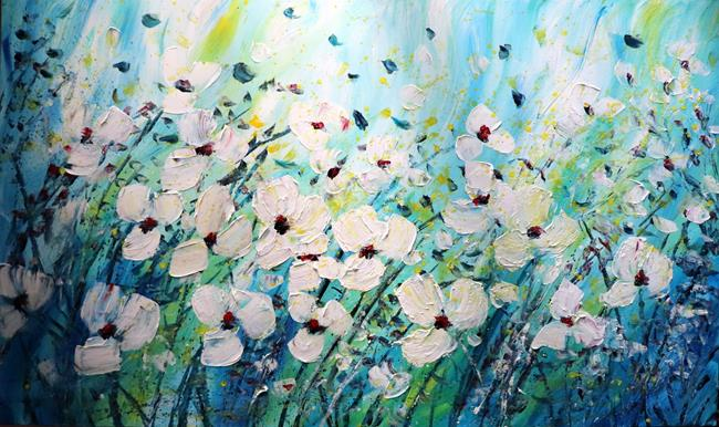 Art: Windy Day Daisy Floral by Artist LUIZA VIZOLI