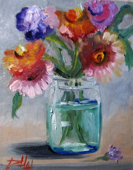 Art: Flowers in a Fruit Jar by Artist Delilah Smith