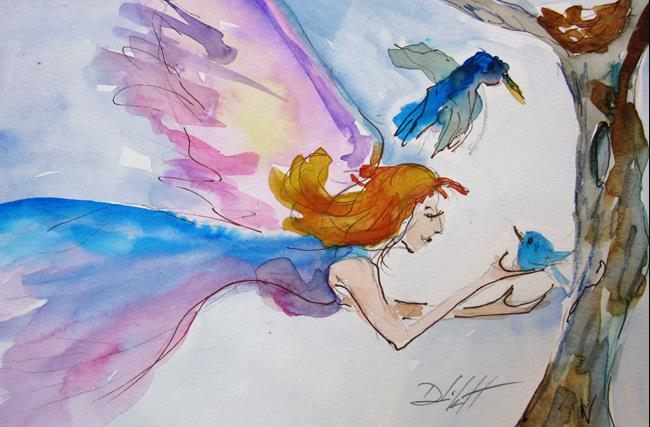 Art: Fairy and Bird by Artist Delilah Smith