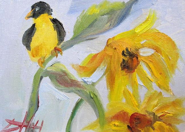 Art: Finch and Sunflowers by Artist Delilah Smith