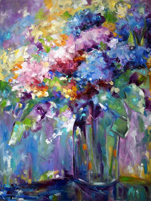 Art: The Gathering 30 x 40 Oil on Canvas Colorful Hydrangea Flower Painting by Artist Laurie Justus Pace