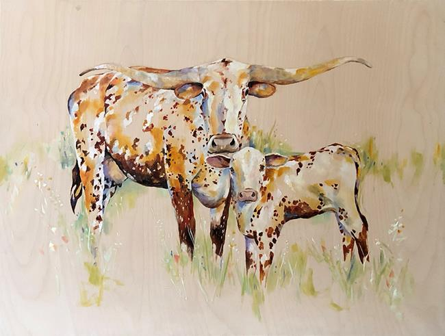 Art: Coming Home Longhorns by Artist Laurie Justus Pace