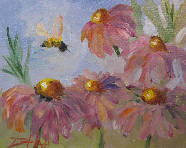 Art: Flowers with Bee by Artist Delilah Smith