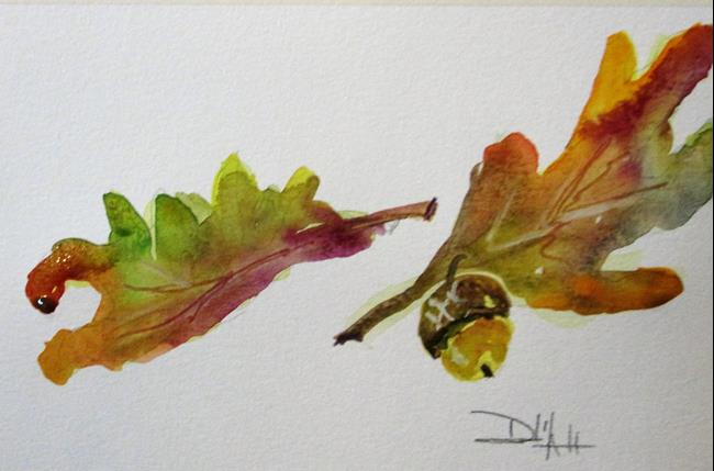 Art: Oak Leaves and Acorn by Artist Delilah Smith