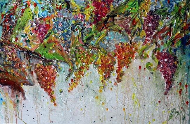 Art: Grape Harvest Tuscany Italy by Artist LUIZA VIZOLI