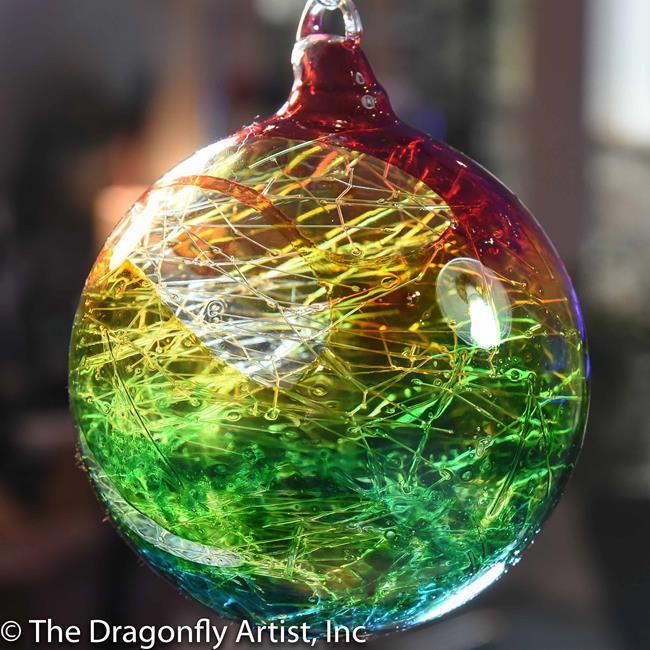 Art: Hand Blown Glass Rainbow Dragonfly Ornament # 139097-1001 by Artist Rebecca M Ronesi-Gutierrez