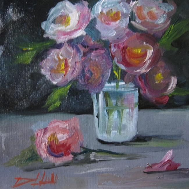 Art: Pink and White Flowers in a Jar by Artist Delilah Smith