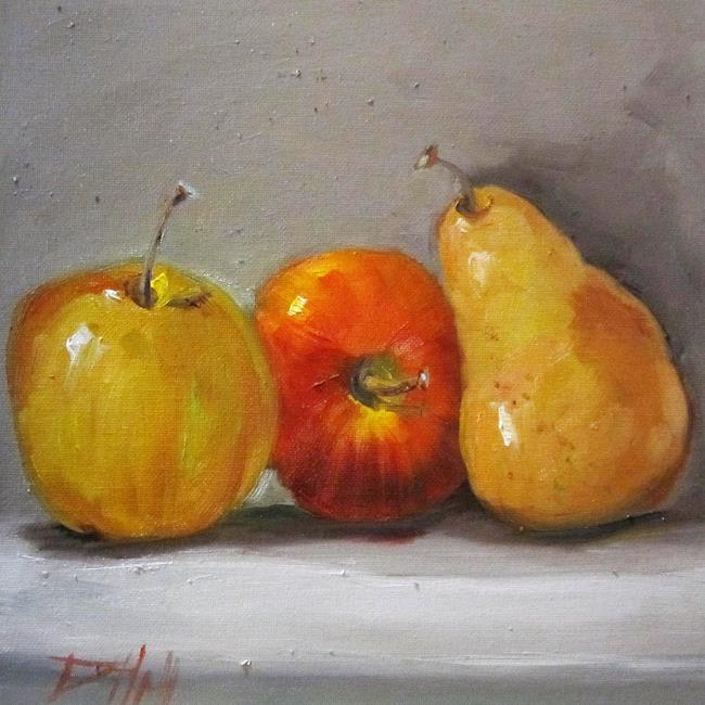 Art: Two Apples and Pear by Artist Delilah Smith