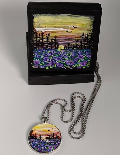 Art: Handpainted Pendant with Necklace and Gift Box (Gifted) by Artist Dana Marie