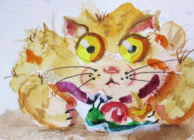 Art: Big Eye Cat and Snail by Artist Delilah Smith