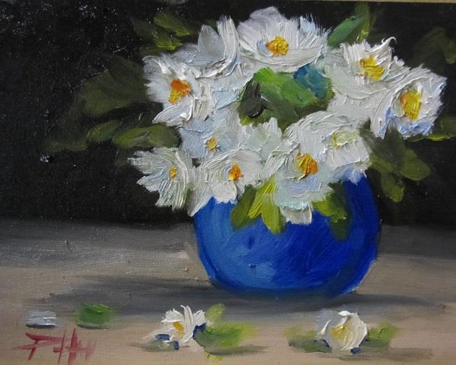 Art: Blue Vase White Flowers by Artist Delilah Smith
